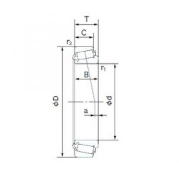 41.275 mm x 73.431 mm x 19.812 mm  NACHI H-LM501349/H-LM501314 Rolamentos de rolos gravados